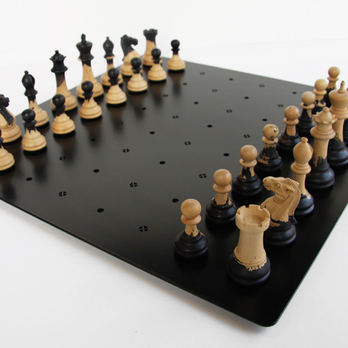 Steel Chess Set unique chess set wood - metal combination