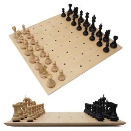 Unique wooden chess set Chess on Dots