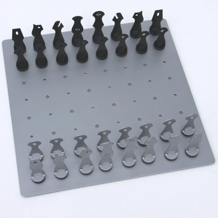 modern chess design metal set